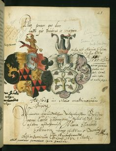 """«Liber amicorum of Joannes Carolus Erlenwein», 1615 to 1619, Kaiserwerth and Fulda, Germany [Walters Ms. W.922] -- 63 full-page painted armorials (two unfinished) -- """"p. 41: Combined arms of Gerolt and Erlenwein families"""""""