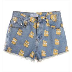 Bart Simpson Print Jeans Shorts (2 colors available) (130 BRL) ❤ liked on Polyvore featuring shorts, patterned shorts, denim short shorts, print shorts, jean shorts and denim shorts