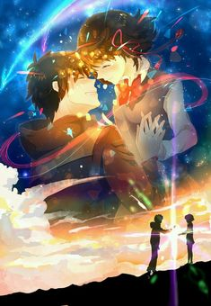 Immagine di anime couple, your name, and taki