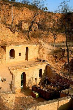 chinese underground homes. Kinda reminds me of Mesa Verde.