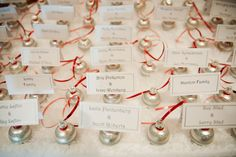 A holiday twist on winter place cards.