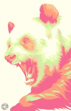 Vector Art illustration- This very interesting pale pop art panda is quite lovely- I love the interesting expression that they have created that really doesn't go with the color choice but makes it more fun-