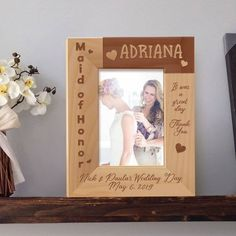 Maid of Honor Picture Frame, Personalized Picture Frames 4x6, Wooden Picture Frames 5x7, Maid of Honor Gifts by MarketingHills on Etsy Personalized Picture Frames, Personalised Box, Personalized Favors, Wedding Picture Frames, Wooden Picture Frames, Maid Of Honour Gifts, Maid Of Honor, Picture Engraving, Military Gifts