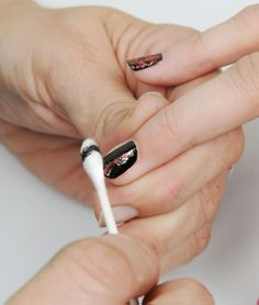 Paint bright base coat. Paint black on top. Roll Q-tip down nail several times. From Nail It Magazine.