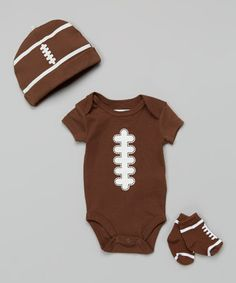 Brown & White Football Bodysuit Set #zulily #ad *soon it will be that time of year again. so cute.