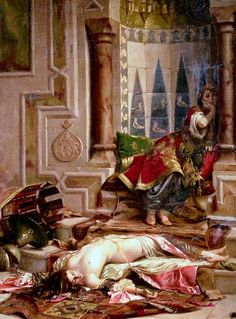 """Drama in the Harem - Theodore Jacques Ralli - """"Ah Jealous Among The Jealous"""". Constantinople Greek painter, watercolourist and draughtsman, who spent most of his working life in Paris, France and in Egypt. Empire Ottoman, Art Et Illustration, Arabian Nights, Art Plastique, Beautiful Paintings, Art World, Egypt, Sculptures, Opera"""