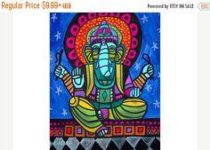 50% Off GANESH Art Hindu God Folk Art Poster by HeatherGallerArt