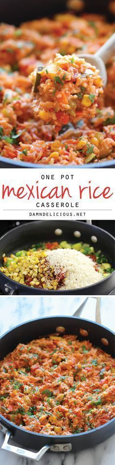 One Pot Mexican Rice Casserole - Good old comfort food made in a single pan - even the rice gets cooked right in the pot! #mexicanfoodrecipes