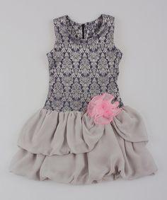 Look at this Silver Damask Drop-Waist Dress - Toddler