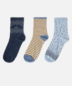 Pack of 3 pairs of blue stamps socks - OYSHO My Socks, Cool Socks, Women Socks, Ladies Socks, Sock Leggings, Tights, Fluffy Socks, Striped Socks, Colorful Socks