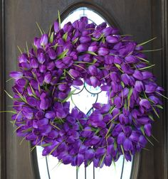 A personal favorite from my Etsy shop https://www.etsy.com/listing/228100862/purple-tulip-wreath-tulip-wreath-easter
