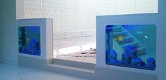 Aquarium Group - Designer twin bespoke aquaria flanking a relaxation zone.  #aquarium #fishtank