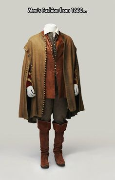 Overknee boots and cape, 1660.