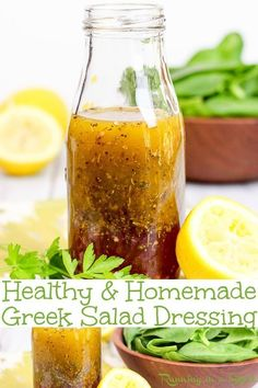 Homemade Healthy Greek Salad Dressing recipes DIY with only 7 ingredients Clean eating with olive oils red wines vinegar lemon and herbs This reicpe is easy vegan dairyfr. Healthy Salads, Healthy Drinks, Healthy Recipes, Clean Eating Salads, Healthy Eating, Healthy Food, Salad Dressing Recipes, Salad Dressing Homemade, Homemade Salad Dressings