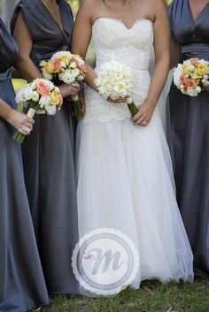 Princess Charlotte Bridesmaid Dresses in Pewter, Custom Zanis Couture Brides Gown