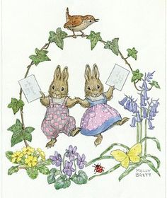 Two rabbits holding letters, with wren on ivy
