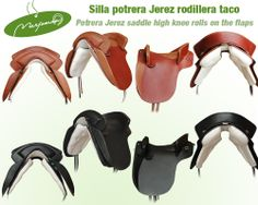 Potrera Jerez saddle high knee rolls on the flaps. An elegant saddle for demanding riders. Made with a unique leather. With outside knee pad like Viena model for better support. Silla de montar potrera Jerez de cuero rodillera taco. Una elegante para jinetes exigentes. Realizada con un cuero excepcional. Con rodillera de taco modelo Viena para un mejor apoyo.