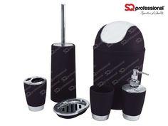6-piece Sanitary Set - BLACK: liquid soap dispenser, soap tray, toothbrush holder, tumbler, toilet brush, bin #toilet #WC #black #sqprofessional