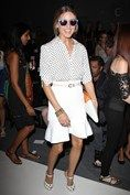 Olivia Palermo wore a Tibi shirt with a Scanlan & Theodore skirt, Westward Leaning shares, Truth or Dare by Madonna heels and carried a Smythson bag.