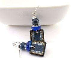 Denim Blue Earrings  Wood Decopage Earrings  by CinLynnBoutique