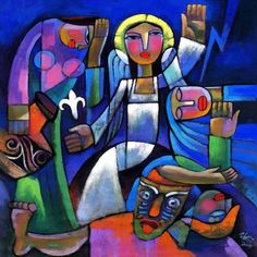 He Qi is one of the most popular modern painters of religious themes. Here a triumphant angel announces that Christ has risen.