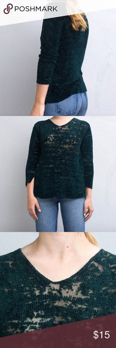 Vintage Sheer Chenille Sweater Soft green chenille sweater. Distressed fabric gives a slight sheer front Vintage Sweaters V-Necks