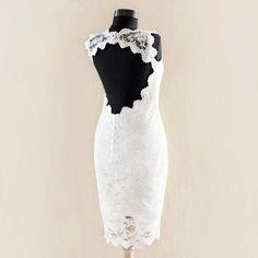 Wedding Lace Dress with Scalloped Keyhole, Custom Made Tea Length Wedding Dress, Short Wedding Dress, Reception Dress on Etsy, $275.00