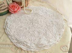 "Set of 3 pieces 12"" Round Vintage White Cotton Battenburg Lace Doily Handmade in Lace, Crochet & Doilies   eBay"