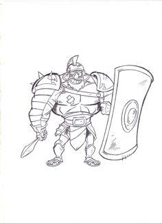 Cartoon de Gladiador feito com lápis HB e contornado com Nanquim.