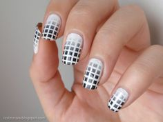 White base with black to white gradient in a grid design - very eye-catching!  |  20 Black and White Nail Designs