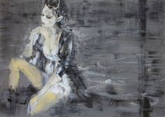 "Saatchi Art Artist OSCAR ALVAREZ; Painting, ""Femenino en grises"" #art"