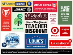 100+ Stores That Give a Teacher Discount~  Who doesn't like saving money?  Finally some businesses that appreciate all the hard work teachers do!