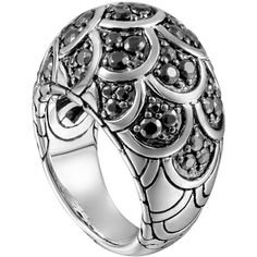 John Hardy Naga Silver Lava Dome Ring with Black Sapphire (3,325 ILS) ❤ liked on Polyvore featuring jewelry, rings, silver, pave sapphire ring, engraved silver rings, black ring, 18k ring and john hardy rings