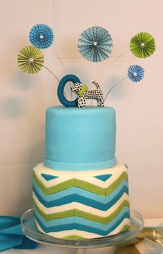 Mod Baby Shower Cake, Jana's Fun Cakes