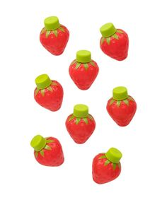 "- Set of 8 strawberry bubbles - Plastic with liquid inside - Size of each is 3"" x 2"" x 2"" - Red with green cap"