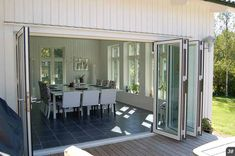 Possible setup of door slider combo Building A Porch, Building A House, Outdoor Rooms, Outdoor Living, Patio Kitchen, Glass Room, Types Of Doors, Farmhouse Plans, Spring Home
