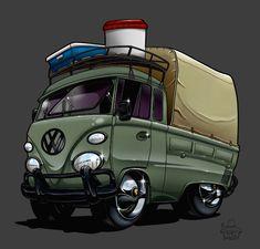 vw tshirt drawing cartoon car show