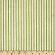 """44"""" Ticking Stripe Apple Green from @fabricdotcom  This medium weight woven canvas twill ticking fabric is perfect for window treatments (draperies, curtains, valances, swags), bed skirts, duvet covers and accent pillows. Please allow for shrinkage. Colors include natural and apple green."""