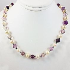 Pearl Amethyst Necklace Sterling Silver Freshwater Strand Off White Purple n785