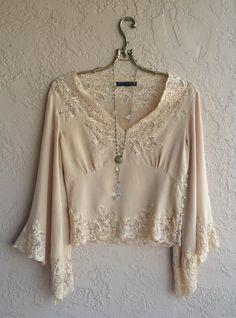Paris design 100 silk Bohemian bell sleeves nude by BohoAngels, $320.00