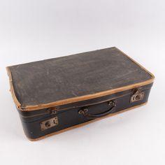 Dobový olemovaný prošitý kufřík Suitcase, Paper Board, Briefcase