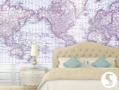Grey world atlas feature wall in living room
