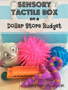 Sensory Tactile Box on a Dollar Store Budget. Fidgets of various textures and size to keep those sensory seeker hands busy.
