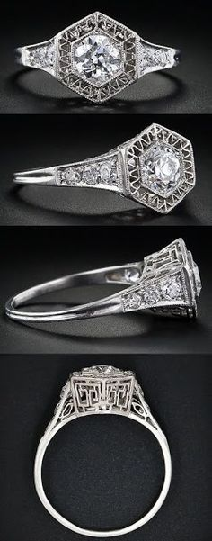 .51 carat early Art Deco diamond engagement ring from the late 'teens - early 1920s. The central stone is in a hexagonal setting enhanced with fine zig-zag platinum wire work.