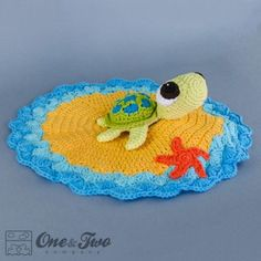 Bob the Turtle Security Blanket Crochet Pattern by One and Two Company