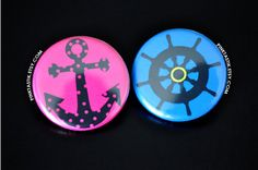Gender Reveal Buttons Nautical Theme Baby Shower by PINKTASTIK