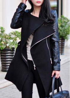 Enchanting PU Splicing Long Sleeve Coat with Zipper