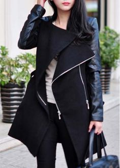 Vogue Mandarin Collar PU Patchwork Long Sleeve Coat