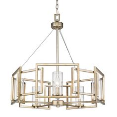 pMake a chic modern statement in any space of your home with this eye-catching chandelier. Showcasing that gives warm undertones to the bold square frames, and clear glass cylinders which surround the stately silhouettes of candelabra bulbs, this must-have luminary is brimming with chic style. /ppHang this lovely 5-light drum chandelier in your dining room to cast a warm glow over every meal from sophisticated soirees to weeknight family dinners. Or set it in your entryway or foyer to cr...