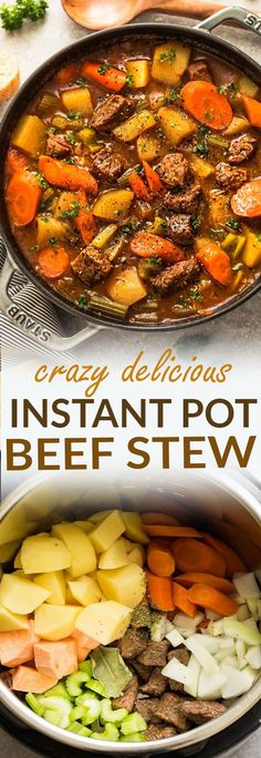 Instant Pot Pressure Cooker Homemade Classic Beef Stew makes the perfect comforting dish on a cold day. Best of all, it's easy to customize and the active cooking time is only 20 minutes on HIGH PRESSURE for the most delicious and tender meat with carrots, potatoes, sweet potatoes and celery. Super comforting for a cozy Sunday and full of amazing flavors that the entire family will love! #beefstew #homemade #comfortfood #stew #winter #fall #cozy #instantpot